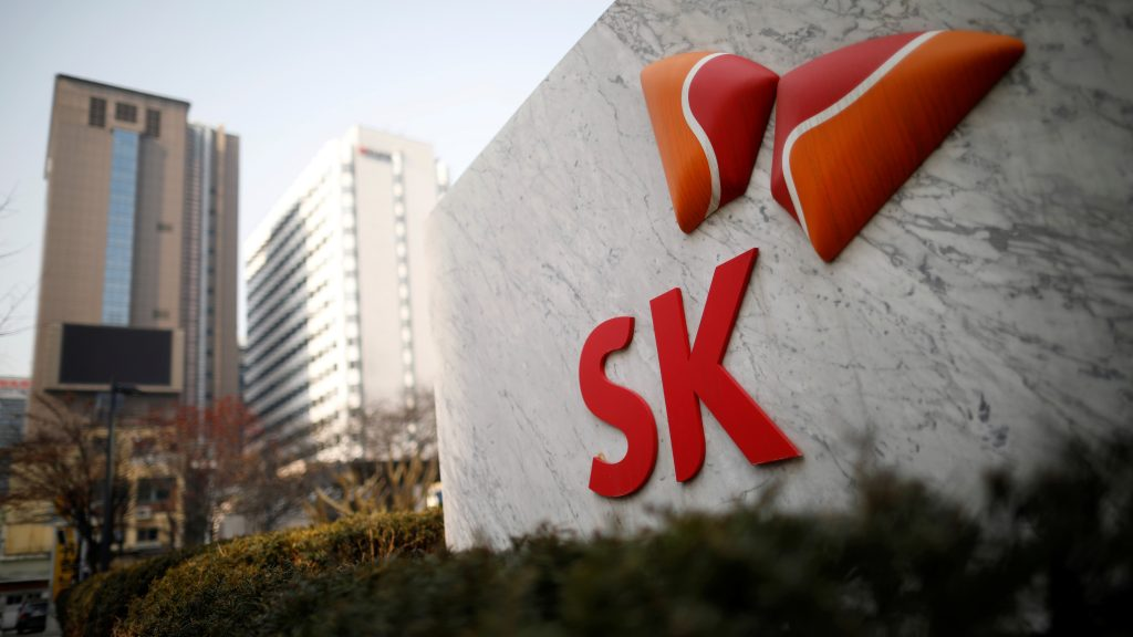 The logo of SK Innovation is seen in front of its headquarters in Seoul